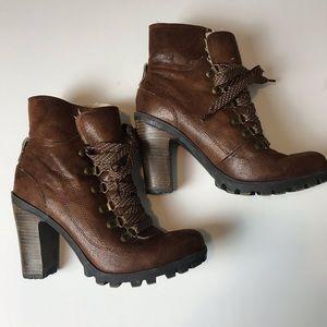 Nine West Jana Jay lug sole lace up boots